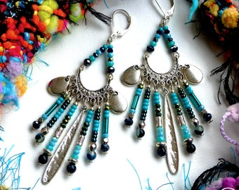 Ethnic Spirit. These earrings unique ethnic Silver 925 turquoise black agate glass Tikaille original design silver plated brass