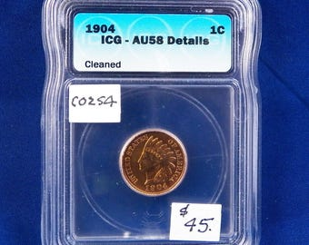 1904 Indian Head Wheat Cent, ICG AU58 Detail, Slider, Cleaned, RD, American Coin, Indian Cent, Rare in This Condition, Copper Penny
