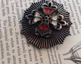 Vintage Brooch, Military Style, Pewter?