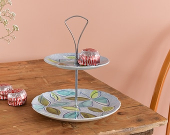 Vintage Two Tiered Old Foley James Kent Cake Stand with 1960s Leaf Design