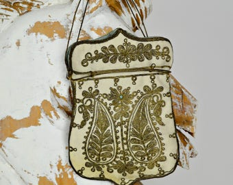 1800s Purse, French Purse, Victorian Purse, Bridal Purse, Wedding Purse, Antique Purse, Evening Bag, Bridal Purse Ivory, Vintage Purse,