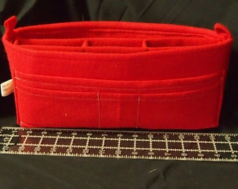 "Purse Organizer Insert 13.5'l x 6""h x 3.5""d ...12 Pockets.. LV purse insert protector.. bottom shaper.. Red Felt Insert"
