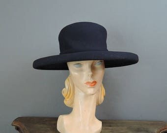 Vintage Hat Wide Brimmed Navy Fabric Hat, fits 22 inch head, Custom Millinery by Bullock's Wilshire, 1960s