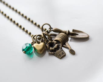 Gardening Charm Necklace - Horticulture Necklace - Spade Watering Can Flower Charm Necklace - Gift for Women - Gift for Gardener Gardening