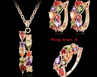 Multi color cubic zirconia 18k rose gold plated pendant earring and ring set