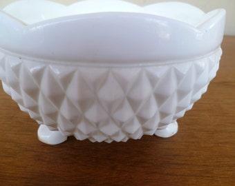 Milk Glass Pedestal Candy Dish Diamond Glass