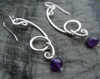 Amethyst Art Nouveau Earrings