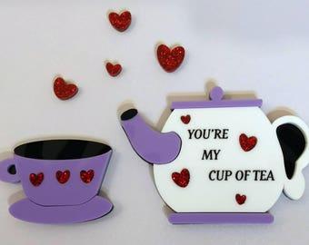 My Cup of Tea Valentine's Day 2 Piece Brooch Set
