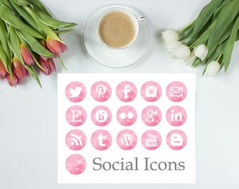 Instant Download - Light Pink Watercolour Social Media Icons
