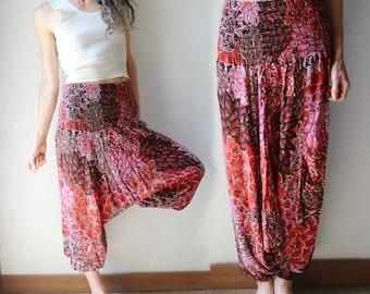 Indian Cotton Gauze Drop Crotch Harem Pants // Free Size