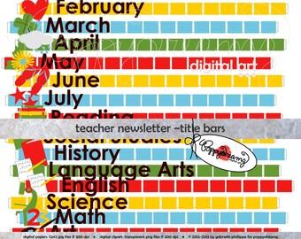 Class Newsletter Title Bars: Digital Pack (300 dpi) School Teacher Clip Art Class Newspaper Headings
