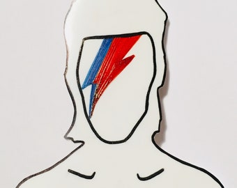 Bowie Inspired Aladinsane Lightning Bolt Brooch - Hand Drawn Plastic Brooch
