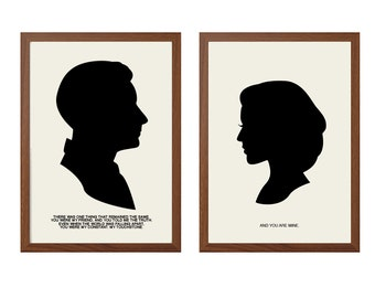 X-FILES | My Constant. My Touchstone Poster :  Agent Scully + Mulder  Modern Illustration TV Show Retro Art Wall Decor