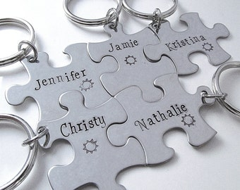 Hand Stamped Puzzle Keychains - Bridesmaid Keychains - Set of 5 - Personalized Bridesmaid Gift