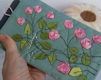 Turquoise iPhone Case sleeve gadget case pink roses Free Motion Embroidery girl iPhone X  iPhone 8 Plus Samsung Galaxy S8 etc. mom gift