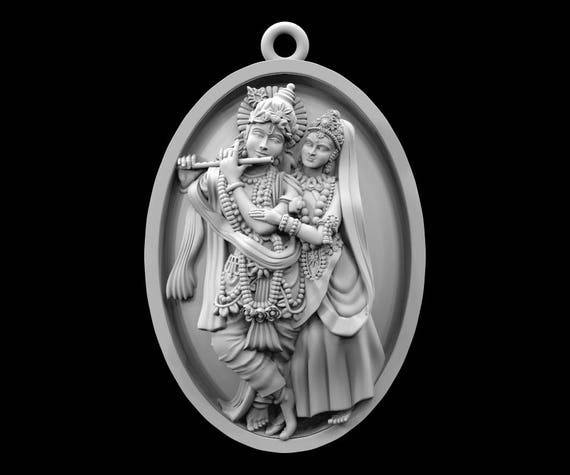 STL File Of Radha Krishna Coin Jewelry Pendant For 3D Printing