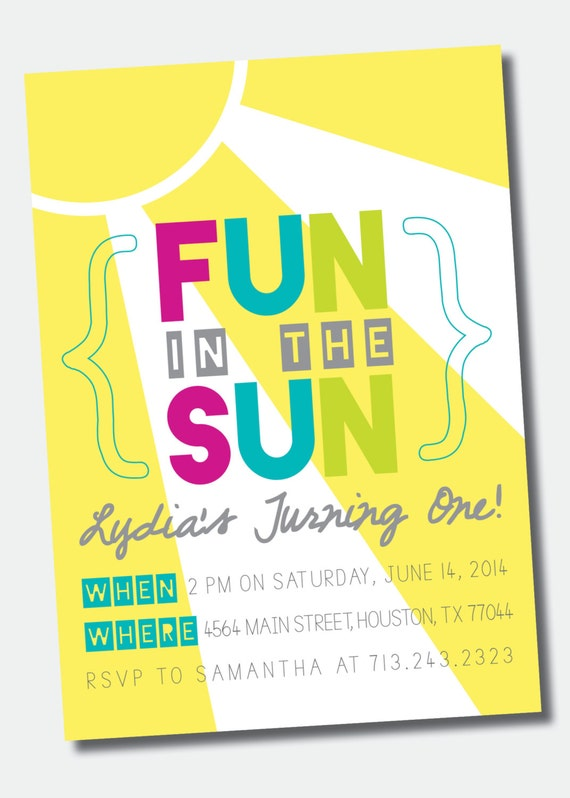 Fantastic Fun in the Sun Birthday Party Invitation /// Pool Party /// GN96