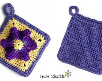 Crochet Pattern - Penelope's Pretty Petunia Potholder flower crochet pattern pdf