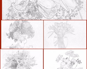 Set of coloring pages (5 pages) pdf file flowers bouquet