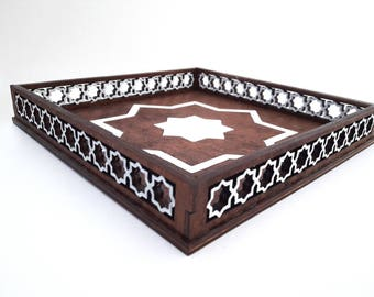 Square tray - wooden - moroccan star theme
