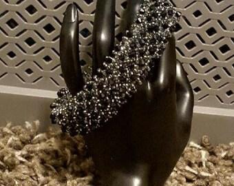 Black and Grey Beadwork Bracelet - Precious Elegance - Gift For Her - Handmade Jewelry - Beaded Jewelry - Beaded Bracelet - Bead Weave OOAK