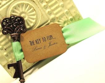 Rustic Key Bottle Opener - Wedding Favor - Set of 10 - Skeleton Key - Personalized - Custom - Unique - Vintage inspire - Key Ring