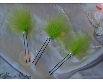 lots bun White Pearl and lime green feather picks