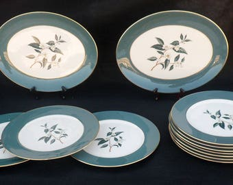 12-Piece Flintridge Ceylon Teal Green Dinnerware Set, Dinner Plates & 2 Large Platters