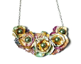 Art Jewelry, Flower Necklace Earring Set, Floral Necklace, Wedding Jewelry Set, Rose Statement Necklace, Recycled Upcycled, Fall Roses