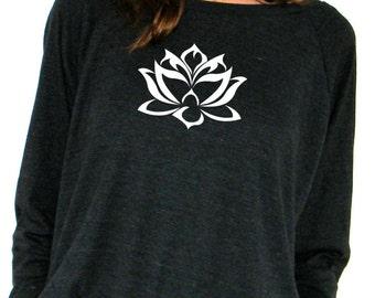 Womens Long Sleeve Sweatshirt - Floating Lotus - American Apparel Raglan Pullover - XS, Small, Medium, Large