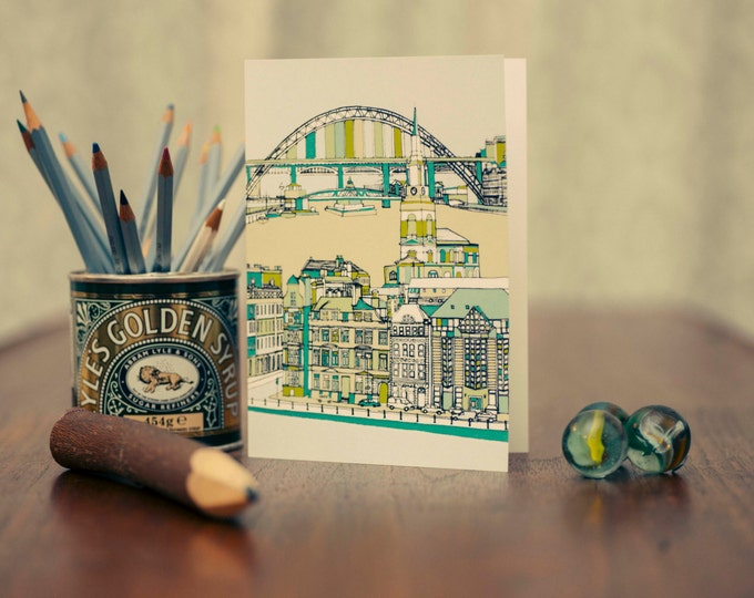 Art / Greetings Card - Tyne Bridge, All Saints Church & Quayside.