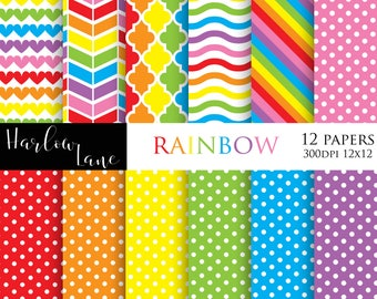 75% OFF SALE Rainbow Digital Paper, Scrapbooking Digital Paper, Birthday Invitation Paper