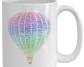 Hot Air Balloon Fly Away Mug Rainbow Colors