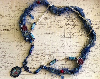 Roses Cameo Silk Handmade Bead One of a Kind Necklace Blue Silver and Cranberry