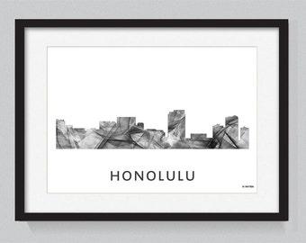 Honolulu, Hawaii skyline WB BW