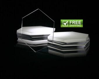 "25 Clear  Acrylic Hexagons ""FREE SHIPPING"" Plexiglass Hexagons"