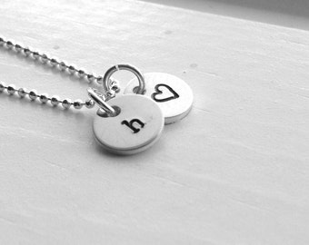 Tiny Letter h Necklace, Sterling Silver Initial Necklace, Heart Necklace, Charm Necklace, Initial Jewelry, Personalized Jewelry, All Letters