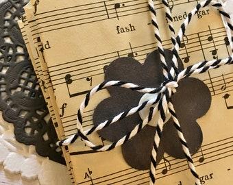 Vintage Music Sheet Envelopes - Handmade with Floral/Button Embellishment - 6 Per Set - Black and White Ephemera