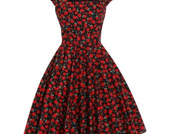 Floral Dress Christmas Dress Red Poppy Dress Thanksgiving Dress Plus Size Dress Party Dress 1950s Tea Dress Swing Dress Vintage Style Dress