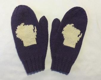 Hand Knit Merino Wool Wisconsin Mittens