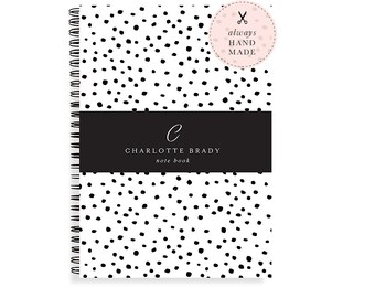 Personalized Notebook Spiral - A5 Notebook Lined or Blank with Polka Dot Notebook Cover in 24 Colors and Personalized with Name