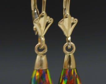 14K Solid Yellow Gold Tear Drop Black Fire Opal Leverback Dangle Earrings