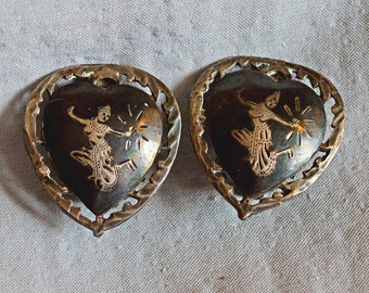 Vintage Earrings - Siam Silver Nielloware, Heart Shaped with the Goddess Mekkala, Sterling