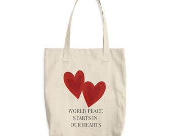 World Peace Starts in Our Hearts: Beige Cotton Tote Bag