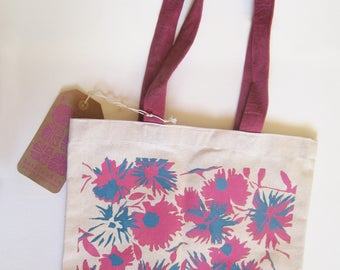 Pink Turquoise Floral Silkscreen Canvas Tote Bag with Contrast Maroon Handles