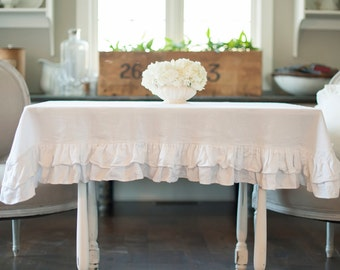Ruffed Linen Double Ruffled Tablecloth