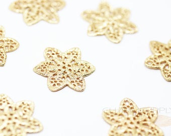 5 PCS Gold Plated Floral Filigree Jewelry Component