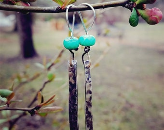 Sterling silver and Apatite hand forged earrings.