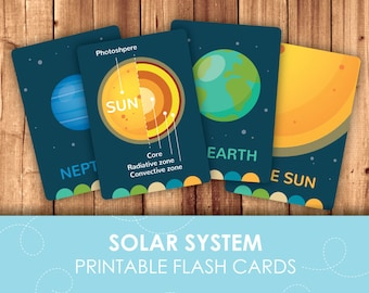 Solar System Planet Flashcards for kids - Digital and text editable