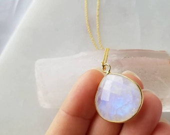 Moonstone Necklace; Iridescent Necklace; Sterling Silver Necklace; 18k Gold Plating